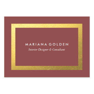 Gold Border on Chubby Business Card in Mauve Pink