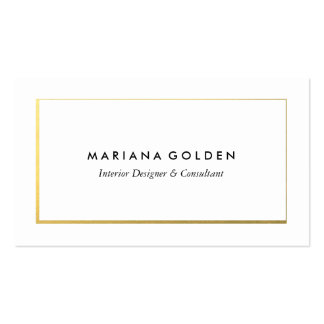 Gold Border on White Business Card Template
