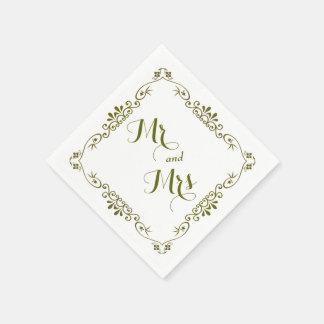 Gold Border Typography Wedding Disposable Serviettes