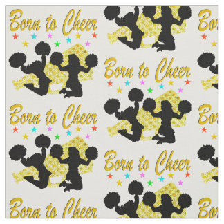 GOLD BORN TO CHEER MEGAPHONE CHEERLEADER FABRIC