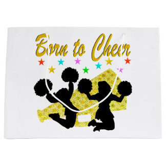 GOLD BORN TO CHEER MEGAPHONE CHEERLEADER LARGE GIFT BAG