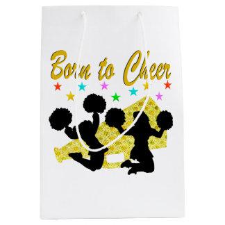 GOLD BORN TO CHEER MEGAPHONE CHEERLEADER MEDIUM GIFT BAG