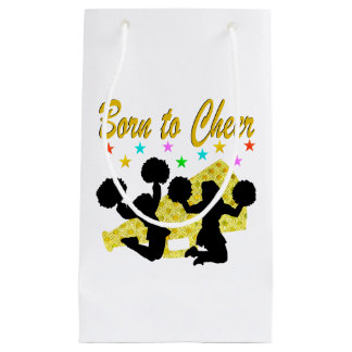 GOLD BORN TO CHEER MEGAPHONE CHEERLEADER SMALL GIFT BAG