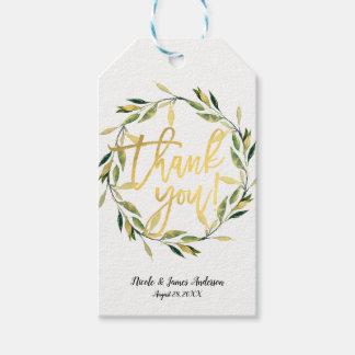 Gold Botanical Green Leaf Wreath Rustic Wedding Gift Tags
