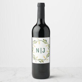 Gold Botanical Green Leaf Wreath Rustic Wine Wine Label