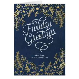 Gold Botanicals Holiday Greetings Note Card