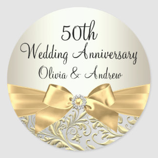 Gold Bow & Floral Swirl 50th Anniversary Sticker