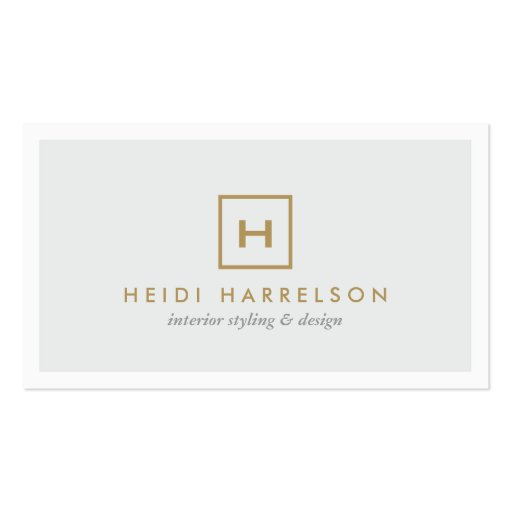 GOLD BOX LOGO with YOUR INITIAL on LIGHT GRAY Business Card Templates