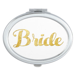 Gold bride compact mirror