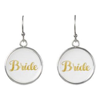 Gold bride earrings
