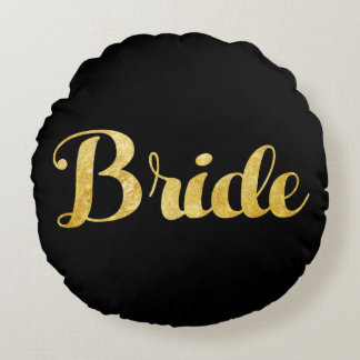 Gold bride round cushion