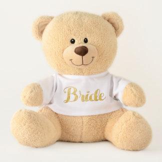 Gold bride teddy bear