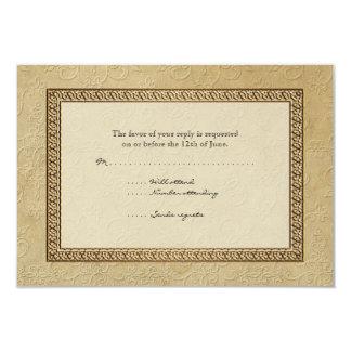 Gold Brocade Damask Floral Formal Elegant RSVP 9 Cm X 13 Cm Invitation Card