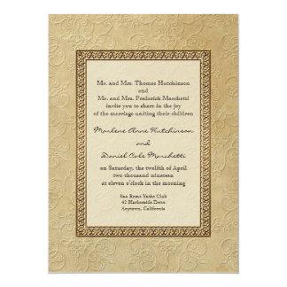Gold Brocade Damask Floral Formal Elegant Wedding 14 Cm X 19 Cm Invitation Card