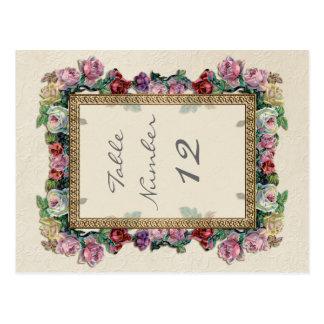 Gold Brocade Floral Formal Elegant Table Numbers Postcard