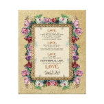 Gold Brocade Floral Love is Wedding Personalised Canvas Prints