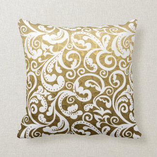 Gold brocade, white damask floral pattern throw cushion