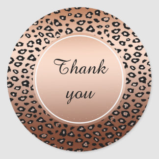 Gold Bronze Black Leopard Print Ombre thank you Classic Round Sticker