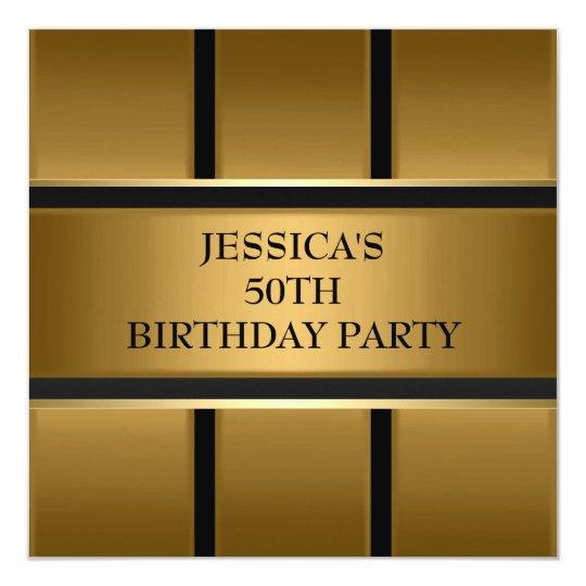 Gold Bronze Black Metal Elegant Party Card