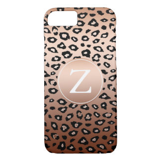 Gold Bronze Leopard Print Monogram iPhone 7 Case