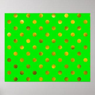 Gold Bronze Metallic Faux Foil Polka Dots Green Poster