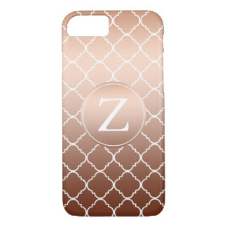 Gold Bronze Quatrefoil Monogram iPhone 7 Case