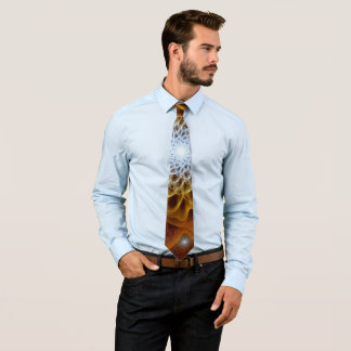 Gold Brown Amber Blue Floral Tie