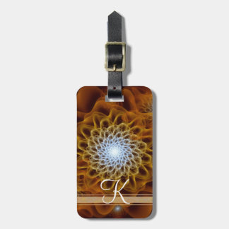Gold Brown Amber Monogram Floral Luggage Tag