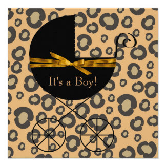 "Gold Brown Carriage Leopard Baby Shower 5.25"" Square Invitation Card"