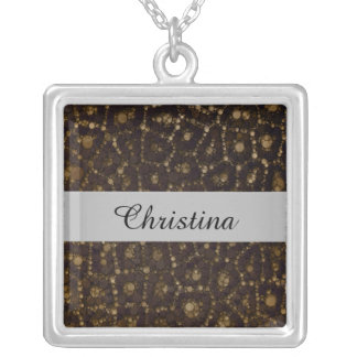 Gold Brown Cheetah Abstract Silver Plated Necklace