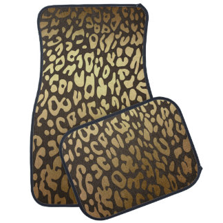 Gold Brown Cheetah Leopard Print Glam Modern Car Mat