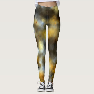 Gold, Brown & Gray Abstract Painting Leggings