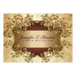 Gold & Brown Tones Vintage Elegant Swirls 2 Pack Of Chubby Business Cards