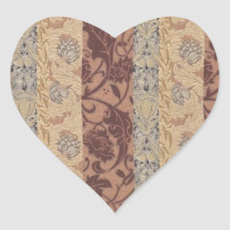 Gold Brown Vintage Flower Pattern Leaf Antique Art Heart Sticker