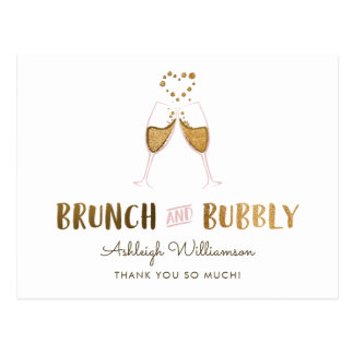 Gold Brunch & Bubbly Bridal Shower | Thank You Postcard
