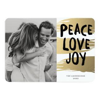 Gold Brush Strokes   Holiday Photo Card