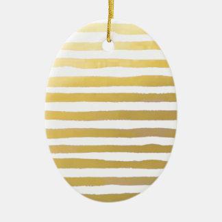 Gold Brushstroke Watercolor Stripes Ceramic Ornament