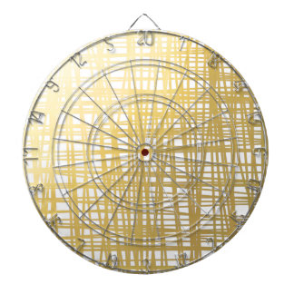 Gold Brushstroke Watercolor Stripes Dartboard
