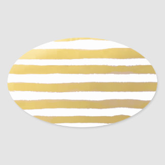 Gold Brushstroke Watercolor Stripes Oval Sticker