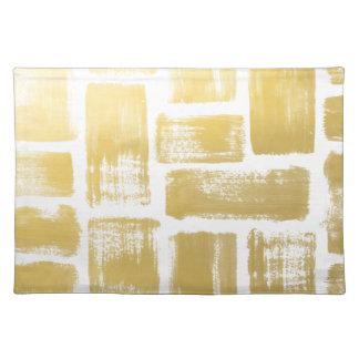 Gold Brushstroke Watercolor Stripes Placemat