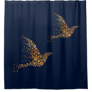 Gold Bubble Birds Shower Curtain