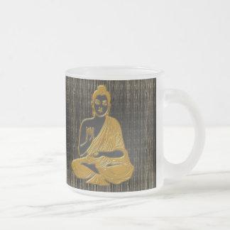 gold Buddha Frosted Glass Coffee Mug