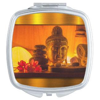 Gold Buddha Travel Mirror