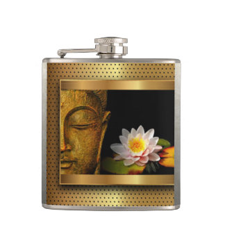 Gold Buddha With Lotus Flower Hip Flask