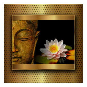 Buddha lotus flower posters photo prints zazzle au gold buddha with lotus flower poster mightylinksfo