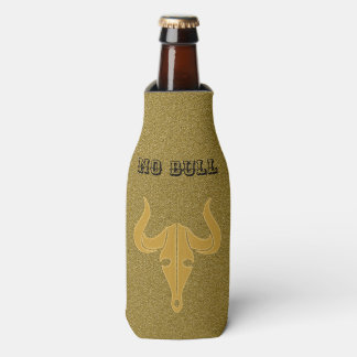 Gold bull with long horns bottle cooler