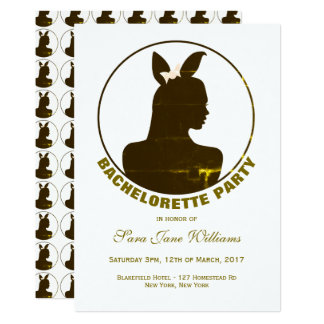 Gold Bunny Girl Bachelorette Party Card