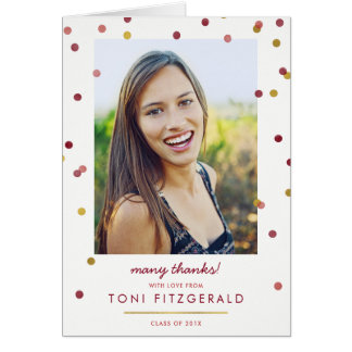 Gold & Burgundy Confetti Photo Thank You Card