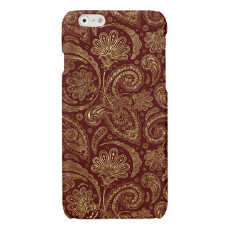 Gold & Burgundy Red Floral Paisley Pattern