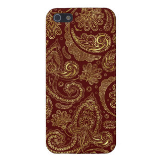 Gold & Burgundy Red Floral Paisley Pattern Case For The iPhone 5